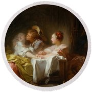 Round Beach Towel featuring the painting The Stolen Kiss by Jean-Honore Fragonard