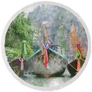 Traditional Long Boat In Thailand Round Beach Towel