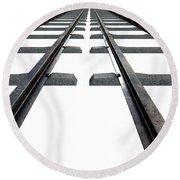 Train Tracks Isolated Round Beach Towel