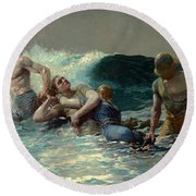 Round Beach Towel featuring the painting Undertow by Winslow Homer
