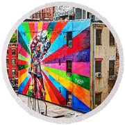 V - J Day Mural By Eduardo Kobra Round Beach Towel