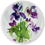 Round Beach Towel featuring the painting Violet by Kovacs Anna Brigitta