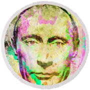 Round Beach Towel featuring the mixed media Vladimir Putin by Svelby Art