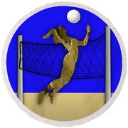 Vollyball Collection Round Beach Towel by Marvin Blaine