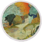Washerwomen In Arles Round Beach Towel