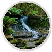 Waterfall In Deep Forest Round Beach Towel