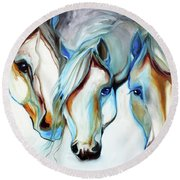 3 Wild Horses In Abstract Round Beach Towel