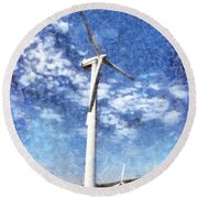 Wind Turbines Round Beach Towel