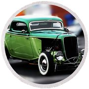 Round Beach Towel featuring the photograph 3 Window 1933 Ford Coupe by Baggieoldboy
