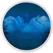 Winter Night In The Mountains Round Beach Towel