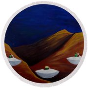 Round Beach Towel featuring the painting 3 Wise Guys by Lola Connelly