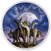 3 Wolves Mooning Round Beach Towel