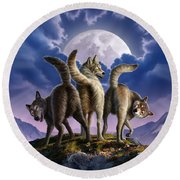 3 Wolves Mooning Round Beach Towel by Jerry LoFaro