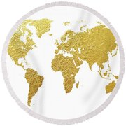 World Map Gold Foil Round Beach Towel