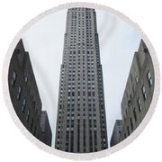Round Beach Towel featuring the photograph 30 Rockefeller Center by Christopher Kirby