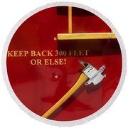 Fire Truck Caution Round Beach Towel