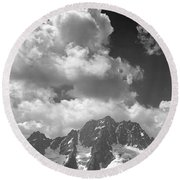 304638 Clouds Over Mt. Stuart Bw Round Beach Towel