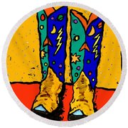 30x36  Boots On Yellow Round Beach Towel