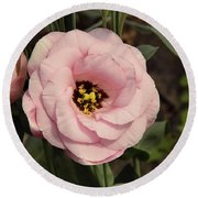 Pink Flowers Round Beach Towel by Elvira Ladocki