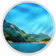 The Mountains And Reservoir Scenery With Blue Sky Round Beach Towel