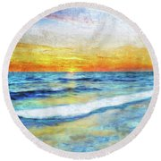 Seascape Sunrise Impressionist Digital Painting 31a Round Beach Towel