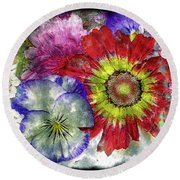 33a Abstract Floral Painting Digital Expressionism Art Round Beach Towel