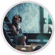 Round Beach Towel featuring the photograph ... by Traven Milovich
