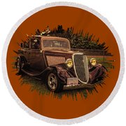 Cool 34 Ford Four Door Sedan Round Beach Towel