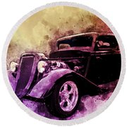34 Ford Three Window Coupe Pen And Ink Watercolour Round Beach Towel