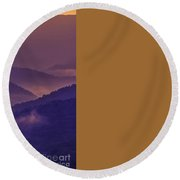 Allegheny Mountain Sunrise Two Round Beach Towel