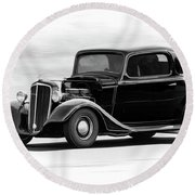 35 Chevy Coupe Round Beach Towel