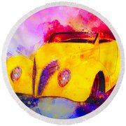 37 Ford Roadster Yellow Watercolour Round Beach Towel