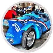 Delahaye Fast From The Front Round Beach Towel by Josh Williams