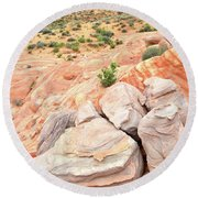 Round Beach Towel featuring the photograph Multicolored Sandstone In Valley Of Fire by Ray Mathis