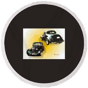 '38 Plymouth Round Beach Towel by Sadie Reneau