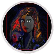Round Beach Towel featuring the digital art 381- Child Keep Your Mouth Shut 2017 by Irmgard Schoendorf Welch