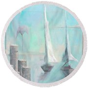 A Morning Memory Round Beach Towel