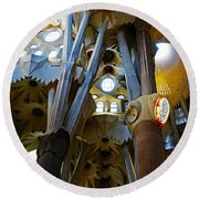 Artistic Achitecture Within The Sagrada Familia In Barcelona Round Beach Towel by Richard Rosenshein