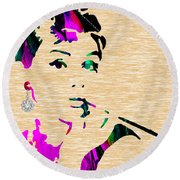 Audrey Hepburn Collection Round Beach Towel by Marvin Blaine