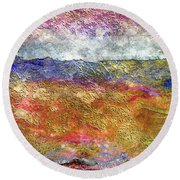 39a Abstract Landscape Sunset Over Wildflower Meadow Round Beach Towel