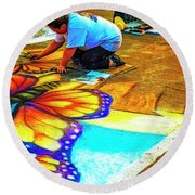 3d Creations Round Beach Towel