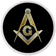 3rd Degree Mason - Master Mason Masonic Jewel  Round Beach Towel