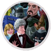 Round Beach Towel featuring the digital art 3rd Dr Who And Friends by Martin Davey