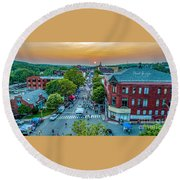 Round Beach Towel featuring the photograph 3rd Thursday Sunset by Michael Hughes