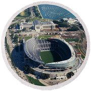 Aerial View Of A Stadium, Soldier Round Beach Towel by Panoramic Images
