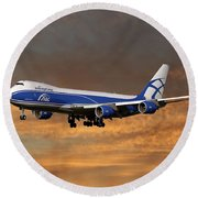 Air Bridge Cargo Boeing 747-8f Round Beach Towel
