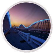 Amazing Night Dubai Vip Bridge With Beautiful Sunset. Private Ro Round Beach Towel