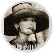 Audrey Hepburn Hollywood Actress Round Beach Towel by Mary Bassett