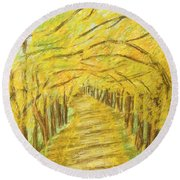 Autumn Landscape, Painting Round Beach Towel