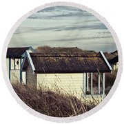 Beach Houses And Dunes Round Beach Towel
